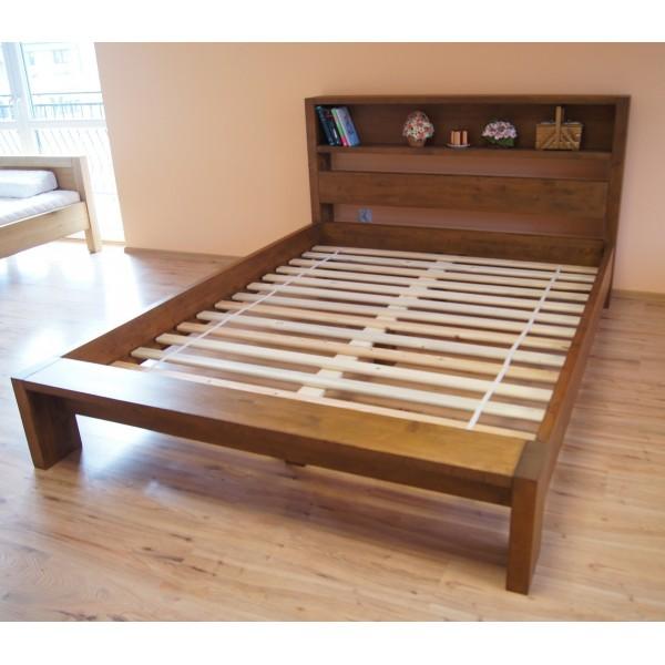 Łóżko drewniane Italio 120x200 z półką w zagłówku
