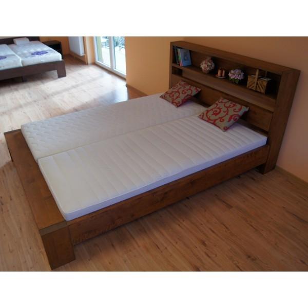 Łóżko drewniane 180x200 z półką w zagłówku