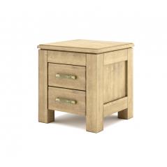 Szafka nocna drewniana postarzana z dwoma szufladkami