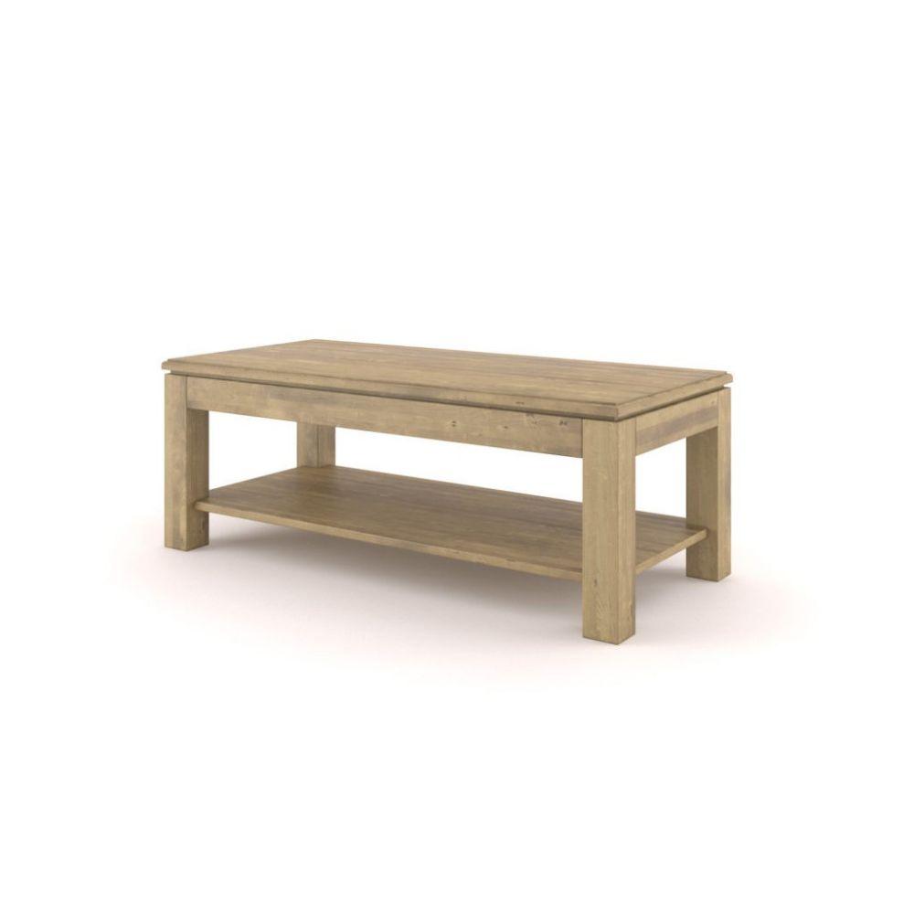 Ława drewniana postarzana z półką Fago