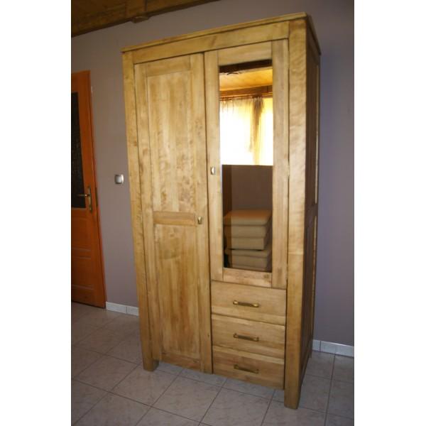 Szafa dwudrzwiowa z szufladami i lustrem drewniana postarzana Bella