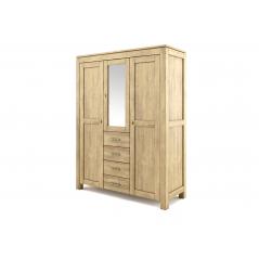 Szafa trzydrzwiowa z szufladami i lustrem drewniana postarzana Ravenna