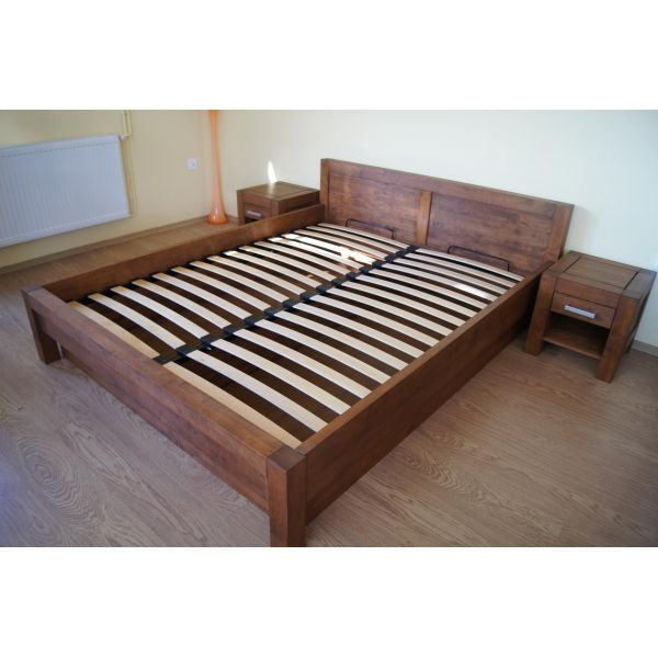 Łóżko drewniane Valentino PLUS 140x200 z pojemnikiem na pościel